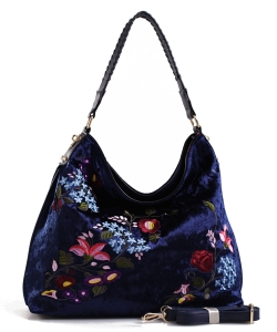 Embroidered Flowers Fashion Handbags PW1539 NAVY