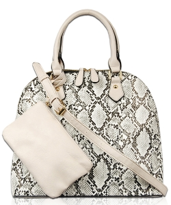 Snakeskin Top Handle Satchel Bag with Pouch PY1750 WHITE