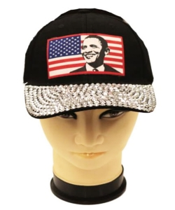 Obama Rhinestone Bling Cap QC401A BLACK