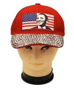Obama Rhinestone Bling Cap QC401AB RED