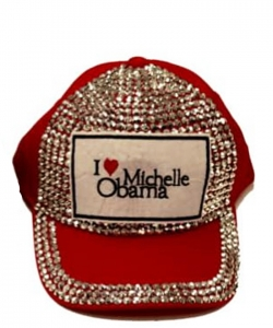 Obama Rhinestone Bling Cap QC401B RED