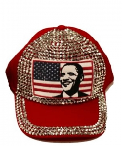 Obama Rhinestone Bling Cap QC401BB RED