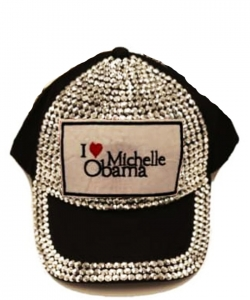 Obama Rhinestone Bling Cap QC401BM BLACK