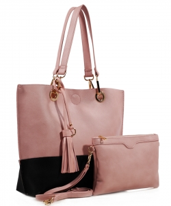 Two tone Drawstring Tote Bags QS1628 BSBK