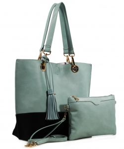 Two tone Drawstring Tote Bags QS1628 GN/BK
