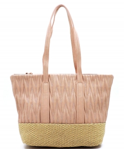 Woven Straw Mixed-Material Quilted Large Tote QS3213 BLUSH
