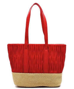 Woven Straw Mixed-Material Quilted Large Tote QS3213 RED