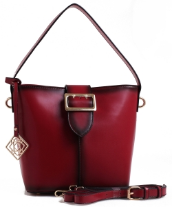 Belt Accent Leather Handbag QW1534 BURGANDY