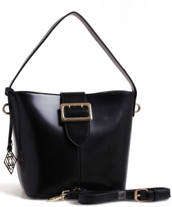 Belt Accent Leather Handbag QW1534 BLACK