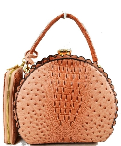 Fashion Faux Leather Ostrich Handbag  QW1963 BLUSH