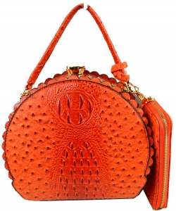 Fashion Faux Leather Ostrich Handbag  QW1963 ORANGE