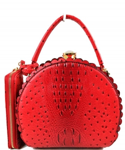 Fashion Faux Leather Ostrich Handbag  QW1963 RED