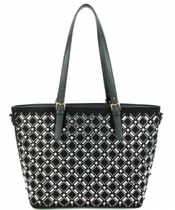 Elegant Mono Tone Colored With Rhinestones Decorated Fashion Handbag S-805 BLACK