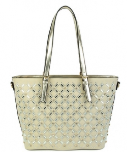 Elegant Mono Tone Colored With Rhinestones Decorated Fashion Handbag S-805 CHAMPAGNE