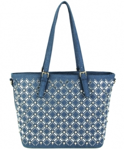 Elegant Mono Tone Colored With Rhinestones Decorated Fashion Handbag S-805 DENIM