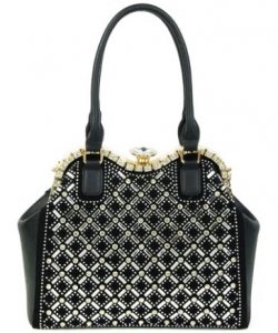 Jewel-top Rhinestone Embellished Bag S809 BLACK