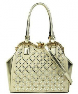 Jewel-top Rhinestone Embellished Bag S809 CHAMPAGNE