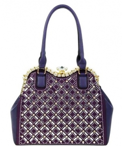 Jewel-top Rhinestone Embellished Bag S809 PURPLE