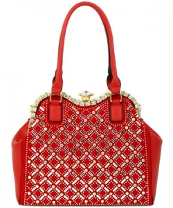 Jewel-top Rhinestone Embellished Bag S809 RED