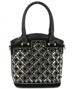 Elegant Mono Tone Colored With Rhinestones Decorated Fashion Handbag  S-816 BLACK
