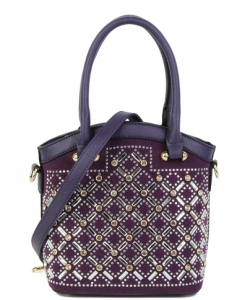Elegant Mono Tone Colored With Rhinestones Decorated Fashion Handbag S-816 PURPLE
