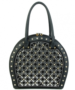 Jewel-top Rhinestone Embellished Bag S818 BLACK