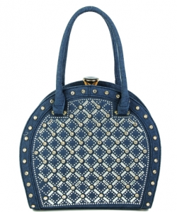 Jewel-top Rhinestone Embellished Bag S818 BLUE