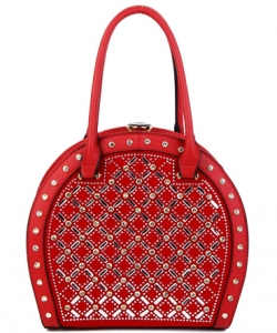 Jewel-top Rhinestone Embellished Bag S818 RED