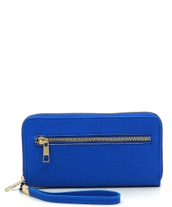 Saffiano Accordion Card Holder Wallet Wristlet SA022 BLUE