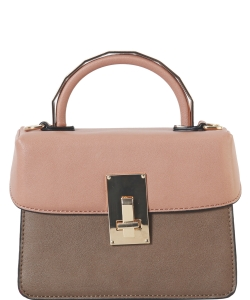 DesignerInspired Top Handle Satchel Bag SE-8090 KHAKI
