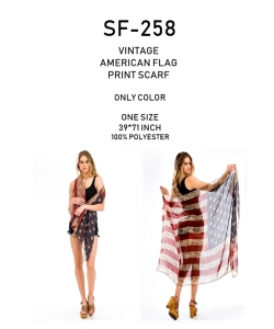 Package of 6 Vintage American Flag Print Scarf  SF-258