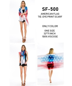 Package of 6  American Flag Tie-Dye Print Scarf  SF-500