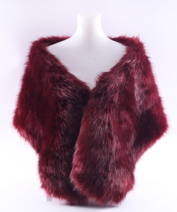 Faux Fur Shawl Winter Scarf  SF320010 BURGUNDY
