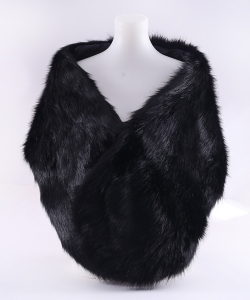 Faux Fur Shawl Winter Scarf  SF320010 BLACK