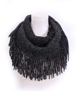 Fringed Knitted Scarf  SF400017 BLACK