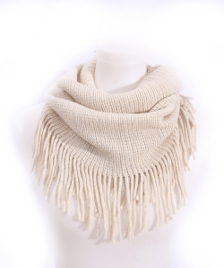Fringed Knitted Scarf  SF400017 IVORY
