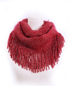 Fringed Knitted Scarf  SF400017 RED