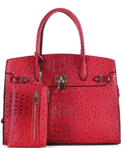 2in1 Ostrich Padlock Style Satchel SG1309NS RED