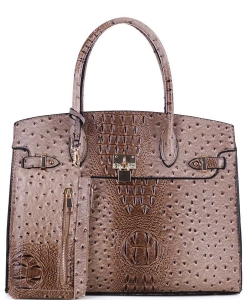 2in1 Ostrich Padlock Style Satchel SG1309NS TAUPE