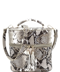 Snake Print Tassel Accent Top-handle Medium Satchel SL095 KHAKI