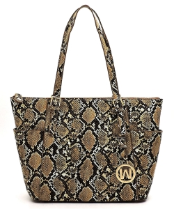 Hot Trendy Snake Textured Shopper Bag SL1009 STONE