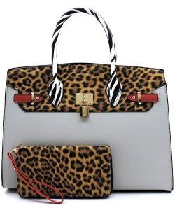 Leopard Zebra Colorblock Pad-lock 2-in-1 Satchel SL2699  GRAY