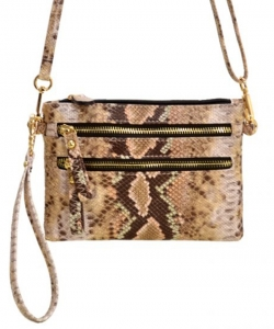 Python Snake Skin Clutch & Cross Body Bag SLM001 TAUPE