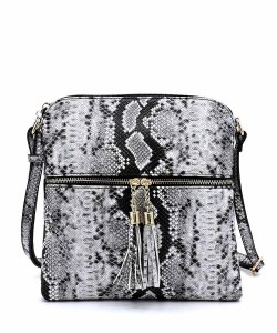 Python Snake Skin Zip Tassel Crossbody Bag SLM062 BLACK2