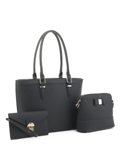Women's Tote Handbag Set SM19775 BLACK