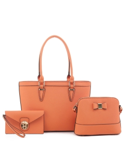 Women's Tote Handbag Set SM19775 ORANGE