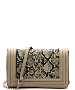 New Fashion Snakeskin Crossbody Bag SM20037 TAUPE