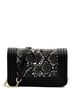 New Fashion Snakeskin Crossbody Bag SM20037 BLACK