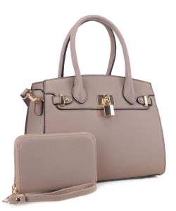 New Fashion Satchel with padlock deco and with Free Matching Wallet SM20093 TAUPE