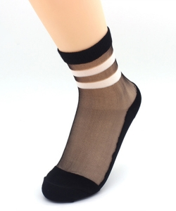 12 Pairs Posh Black Top See-Thru Socks SO300005